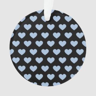 淡いブルーの水玉模様のハート(黒い背景) オーナメント
