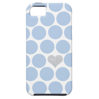 淡いブルーの水玉模様の銀製のハートのiPhone iPhone SE/5/5s ケース