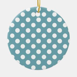 淡いブルーの水玉模様パターンガーリーなトレンディー セラミックオーナメント