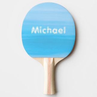 淡いブルーの海洋波の名前入りな陰 卓球ラケット