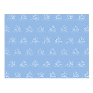 淡いブルーの海賊船パターン ポストカード