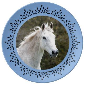 淡いブルーの涙フレームのプレート 磁器プレート