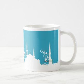 淡いブルーの渦巻のモスクの写真のマグ コーヒーマグカップ