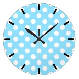 淡いブルーの白い水玉模様 ラージ壁時計