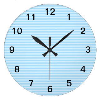 淡いブルーの縞 ラージ壁時計
