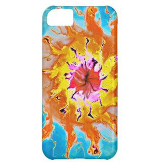淡いブルーの背景の抽象的なオレンジ日曜日 iPhone5Cケース