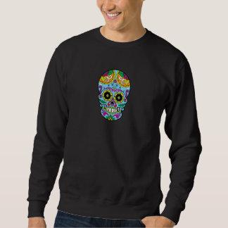 淡いブルーの花のメキシコ入れ墨の砂糖のスカル スウェットシャツ
