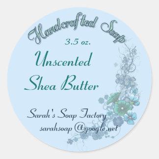 淡いブルーの花柄によって手作りされる石鹸Ver。 2 ラウンドシール