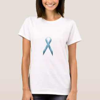 淡いブルーの認識度のリボン Tシャツ