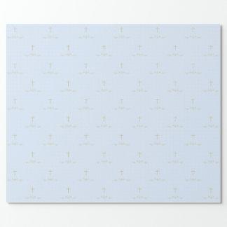 淡いブルーの金ゴールドの十字そして月桂樹 包み紙