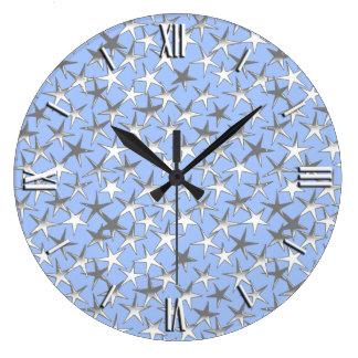 淡いブルーの銀製の星、 ラージ壁時計