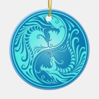 淡いブルーの陰陽のドラゴン セラミックオーナメント