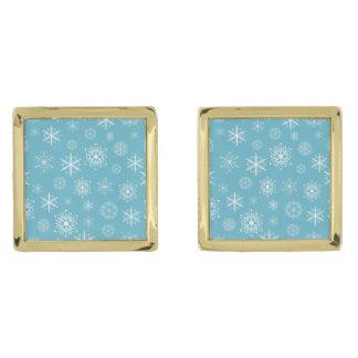 淡いブルーの雪片のクリスマスのデザイン ゴールド カフスボタン