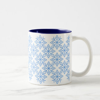 淡いブルーの雪片パターンマグ ツートーンマグカップ