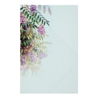 淡いブルーの霧深い紫色の藤-静止した3 便箋