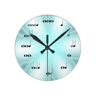 淡いブルーの音符の時計 ラウンド壁時計