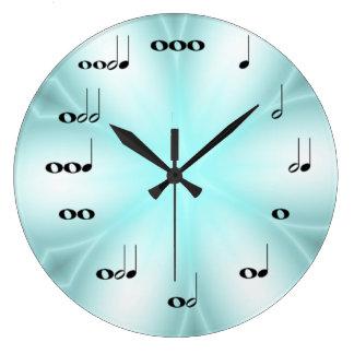 淡いブルーの音符の時計 ラージ壁時計
