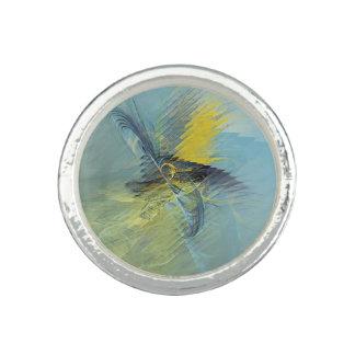 淡いブルーの黄色の抽象芸術のフラクタル 指輪