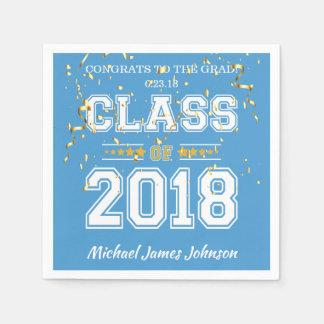 淡いブルーの2018年の卒業生のパーティーおよび金ゴールドのクラス スタンダードカクテルナプキン