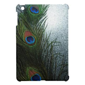 淡いブルーの3羽の孔雀の羽 iPad MINIケース