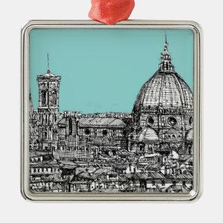 淡いブルーフィレンツェの大教会堂 メタルオーナメント