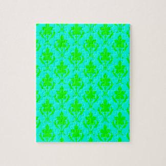 淡いブルー及び薄緑の華美な壁紙パターン ジグソーパズル