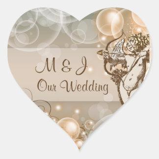 淡い色のなアボカドのchocのクリームの結婚式 ハート形シール・ステッカー