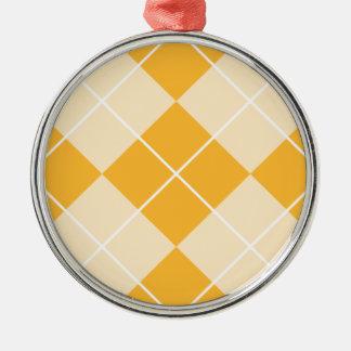 淡い色のなオレンジシャーベットのアーガイル メタルオーナメント