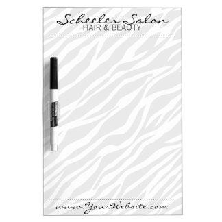 淡い色のなシマウマのプリントのカスタムなサロンのスパの伝言板 ホワイトボード