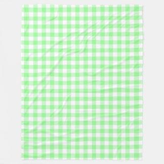 淡い色のなパステル調の緑および白いギンガムの点検 フリースブランケット