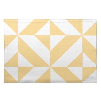 淡い色のなメロンの幾何学的なDecoの立方体パターン ランチョンマット