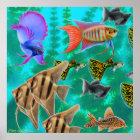 淡水のアクアリウムの魚ポスター ポスター
