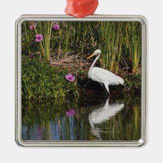 淡水の沼地の素晴らしい白鷺の狩りの魚 メタルオーナメント