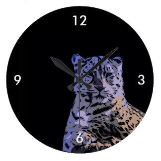 淡青色のトラの抽象芸術 ラージ壁時計