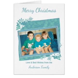 淡青色のメリークリスマスの写真 グリーティングカード