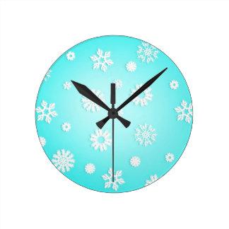 淡青色の雪片の柱時計 ラウンド壁時計