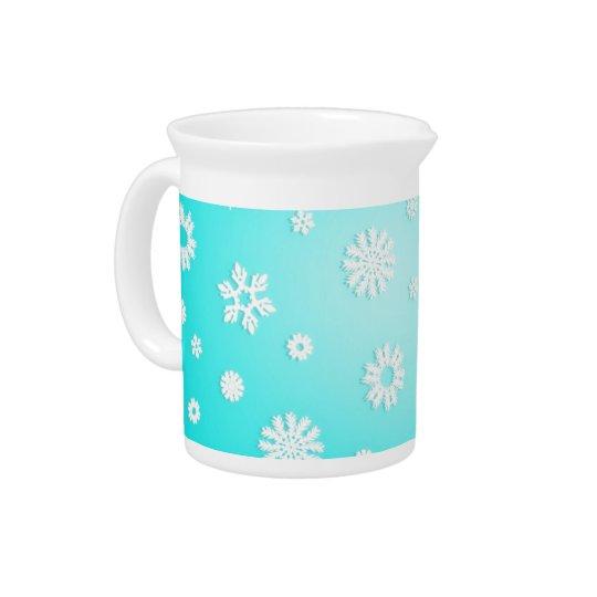 淡青色の雪片の水差し ピッチャー