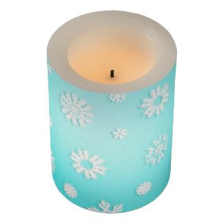 """淡青色の雪片LEDの蝋燭、3"""" x 4"""" LEDキャンドル"""
