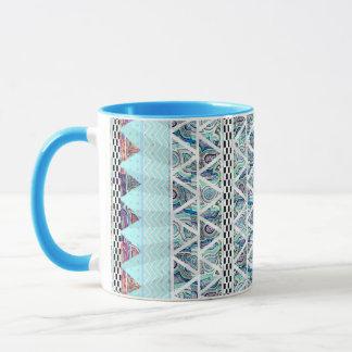 淡青色のBohoの種族のストライプなスターバスト マグカップ