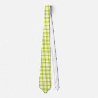 淡黄緑のギンガムのスタイルパターンは男性へを結びます オリジナルタイ