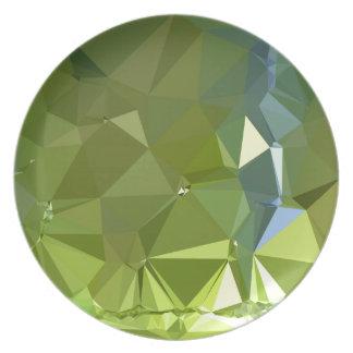 淡黄緑の緑の抽象芸術の低い多角形の背景 プレート