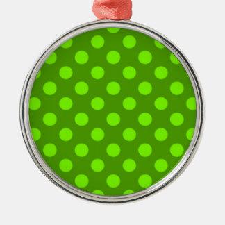 淡黄緑の緑の水玉模様パターンガーリーなトレンディー メタルオーナメント