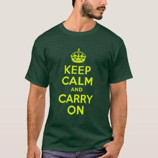 淡黄緑のKeep Calm and Carry On Tシャツ