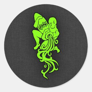 淡黄緑、ネオン緑のアクアリウム ラウンドシール