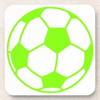 淡黄緑、ネオン緑のサッカーボール コースター