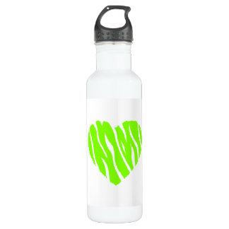 淡黄緑、ネオン緑のハート ウォーターボトル