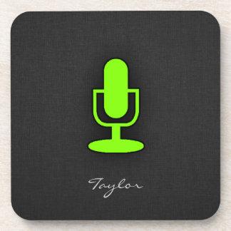 淡黄緑、ネオン緑のマイクロフォン コースター