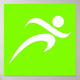 淡黄緑、ネオン緑のランニング ポスター