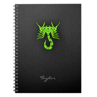 淡黄緑、ネオン緑の蠍 ノートブック