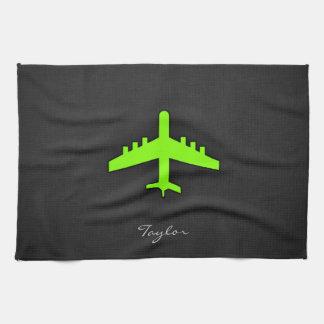 淡黄緑、ネオン緑の飛行機 キッチンタオル
